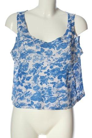 MTWTFSSWEEKDAY Blusentop blau-weiß Allover-Druck Casual-Look