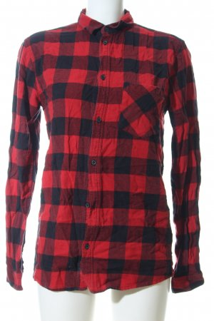 MTWTFSSWEEKDAY Holzfällerhemd schwarz-rot Karomuster Casual-Look