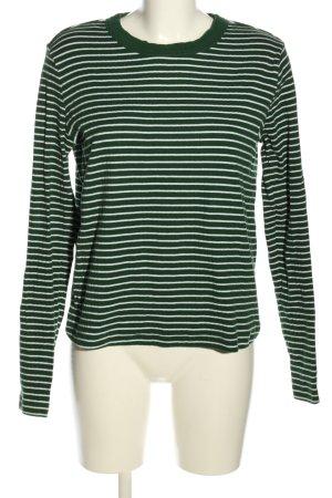 MTWTFSSWEEKDAY Longsleeve grün-weiß Streifenmuster Casual-Look