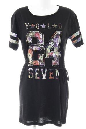 MTWTFSSWEEKDAY Shirtkleid schwarz Schriftzug gedruckt sportlicher Stil