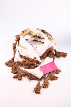 Mucho Gusto Chusta na ramiona brązowy-w kolorze białej wełny Nadruk z motywem