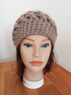 hand gemacht Crochet Cap grey brown-beige