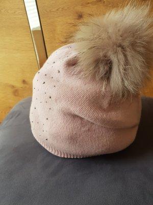 0039 Italy Chapeau en tricot or rose laine