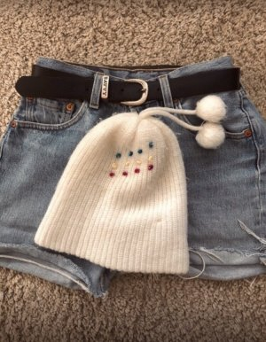 Sombrero de punto blanco puro-blanco