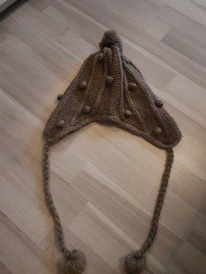 Pieces Cappello a maglia marrone-grigio