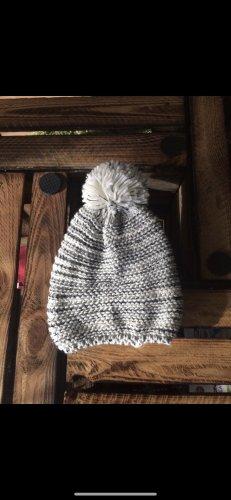 Cappello a maglia bianco-grigio