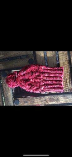 Gehaakte muts roze-framboosrood
