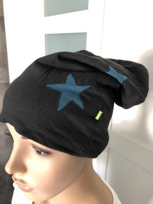 Mütze Beanie Biobaumwolle Organic Cotton schwarz Sterne petrol Länge 28 cm
