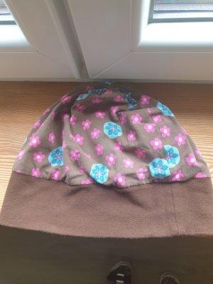 Chapeau en tissu brun-turquoise