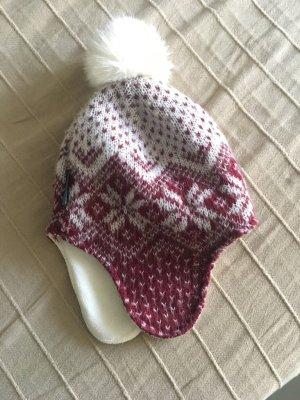 Napapijri Cappello con pon pon bianco sporco-rosso scuro