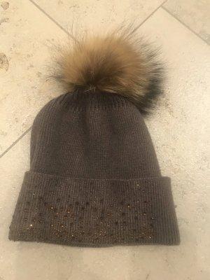 Knitted Hat dark brown-light brown