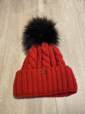 Unbekannte Marke Chapeau en tricot rouge-noir
