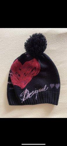 Desigual Chapeau en tissu noir-rouge foncé