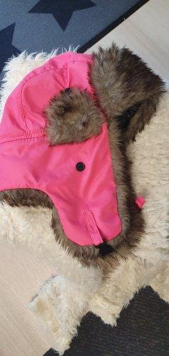 Chapeau d'aviateur rose tissu mixte