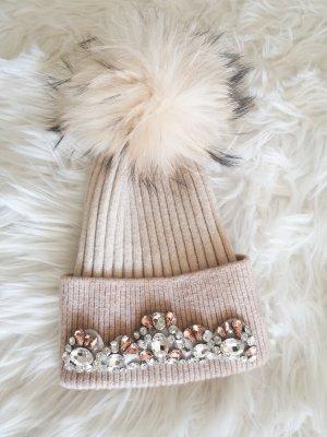 Sombrero de piel blanco puro-beige claro