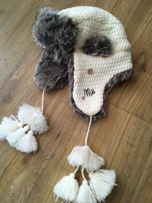 Fur Hat natural white-grey polyacrylic