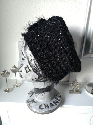 Szydełkowana czapka czarny-srebrny
