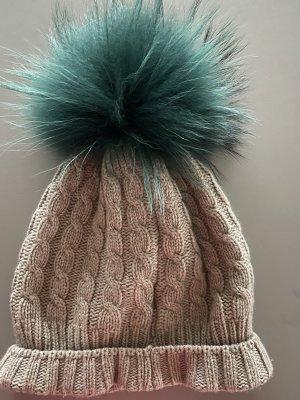 xxx Wełniana czapka szaro-brązowy-leśna zieleń