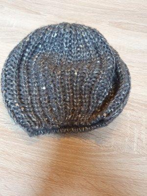 Mütze grau-silber Pailletten NEU
