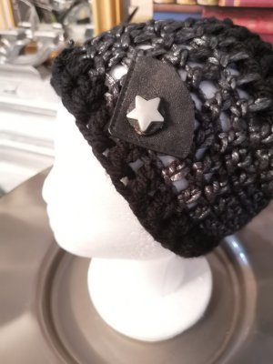 Hand made Crochet Cap black-silver-colored wool