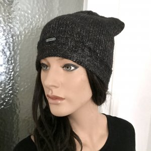 Esprit Knitted Hat black-silver-colored wool