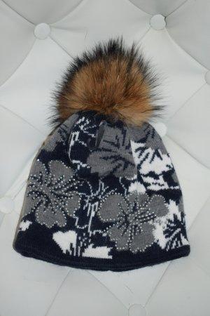 Mütze in Blau grau Muster Steinchen mit Echtfell Bommel Neu
