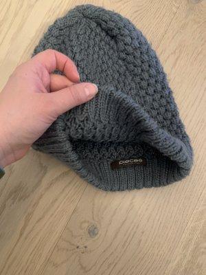 Pieces Chapeau en tricot gris anthracite-gris foncé