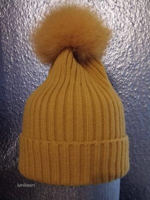 Mütze in senf gelb mit Echtfell Bommel Neu