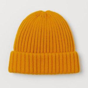 H&M Bonnet en crochet brun sable-jaune acrylique