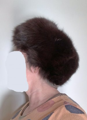 no name Futrzana czapka czarno-brązowy-brązowy Futro