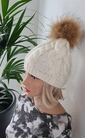 -8- Venice Sombrero de punto blanco-crema