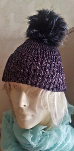 Cappello a maglia viola scuro-argento