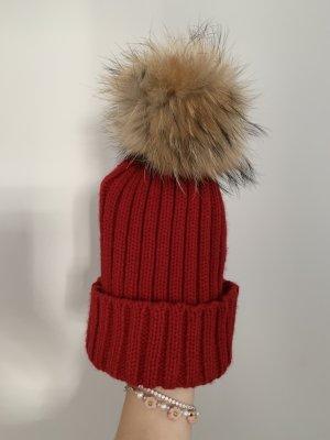 NoName Cappello in pelliccia rosso-rosso mattone