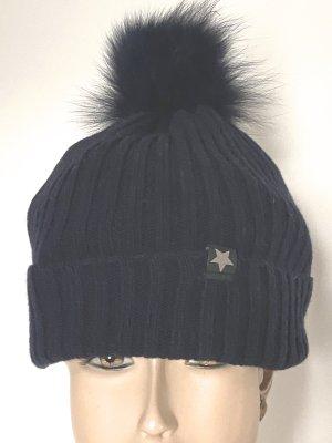 Mütze mit Echtpelzbommel dunkelblau