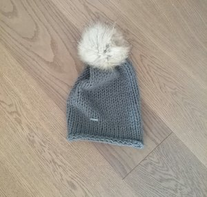 Cappello a maglia argento Lana merino