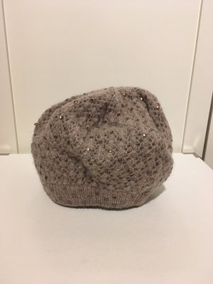 Accessorize Knitted Hat grey brown-rose-gold-coloured angora wool