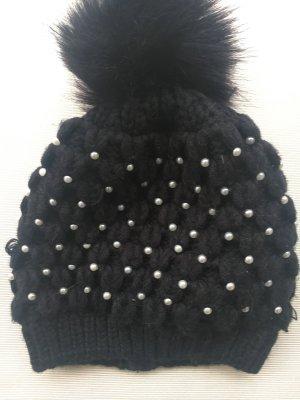 Hallhuber Knitted Hat black-white