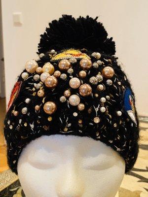 Mütze mit Perlen/ Strass und Sticker