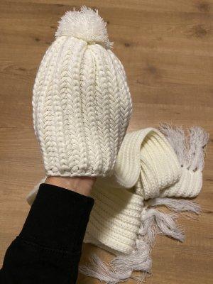 H&M Chapeau en tricot blanc cassé
