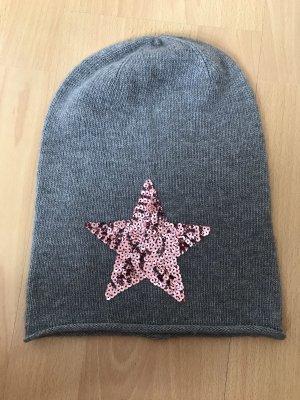 Chapeau en tissu gris foncé-rose