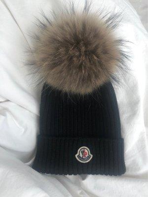 Moncler Futrzana czapka czarny-piaskowy brąz