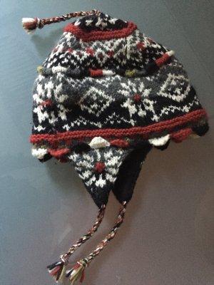Mütze Nepal handgestrickt NEWARI reine Wolle / Fleece innen
