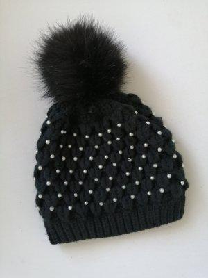 Hallhuber Chapeau en fourrure noir