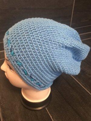 Handmade Gorro tejido azul aciano