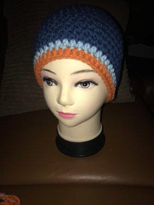 Unikat Einzelstück Crochet Cap cornflower blue-green