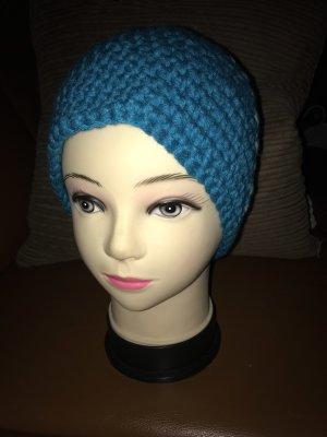 Unikat Einzelstück Crochet Cap steel blue-azure