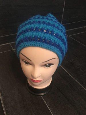 Handmade Gorro tejido azul celeste-azul aciano