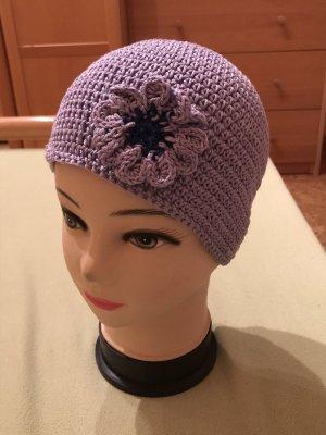 Unikat Einzelstück Bonnet en crochet gris violet-lilas