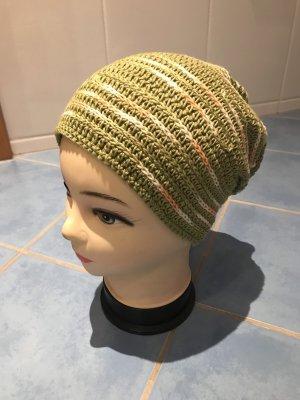 Unikat Einzelstück Knitted Hat lime-green-green grey