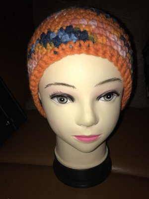 Unikat Einzelstück Crochet Cap orange-cornflower blue